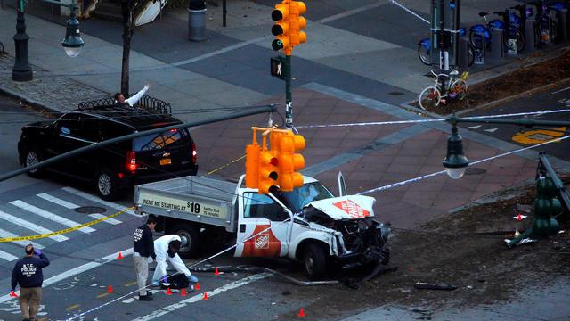 New York City truck terror attack scene