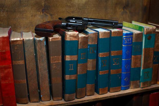 shelf with books gun