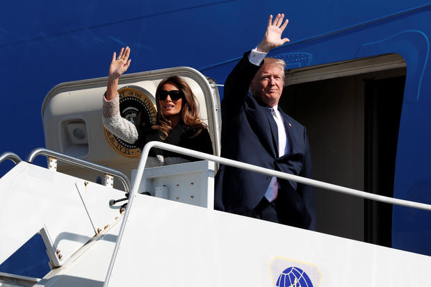 U.S. President Donald Trump and first lady Melania Trump arrive on Air Force One at U.S. Air Force Yokota base in Fussa