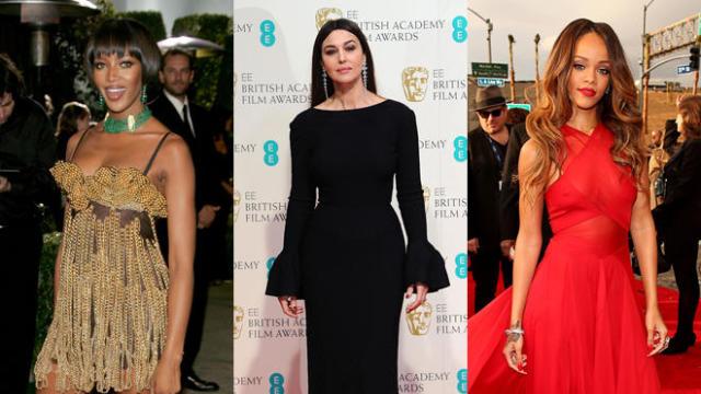 British topmodel Naomi Campbell (R) pose