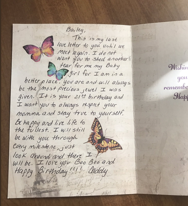 """Dad's Final """"love Letter"""" To Daughter On Her 21st Birthday"""