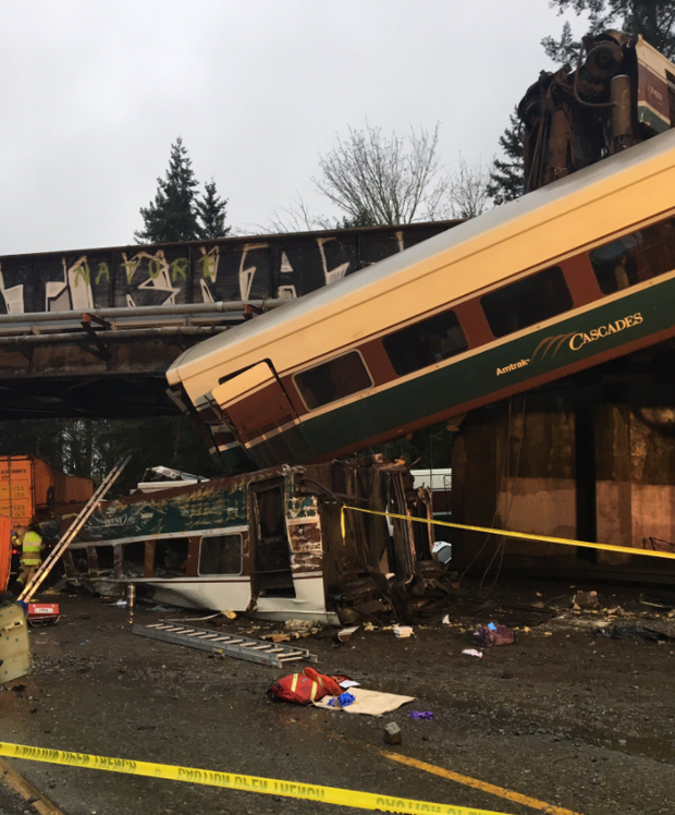 Live Updates: Amtrak Train Derails, Dangles over Washington Interstate