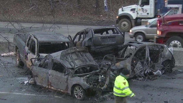 Several hurt in fiery multivehicle crash during morning rush