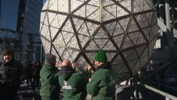 Crews Install Crystals on New Year's Eve Ball in Times Square