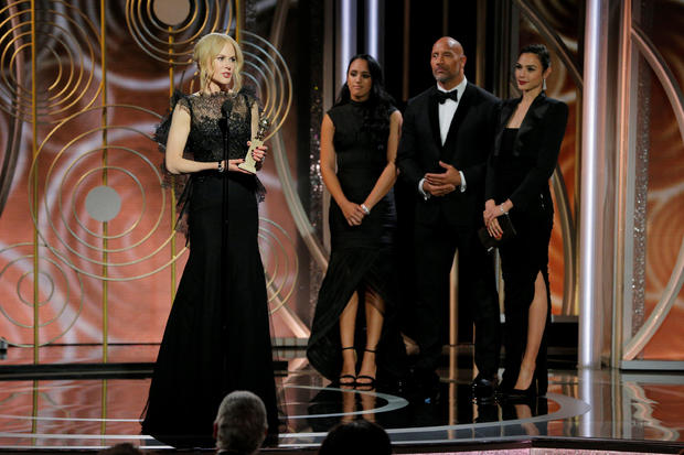 """Nicole Kidman speaks after winning Best Performance by an Actress in a Limited Series or Motion Picture Made for Television for """"Big Little Lies"""" at the 75th Golden Globe Awards in Beverly Hills"""
