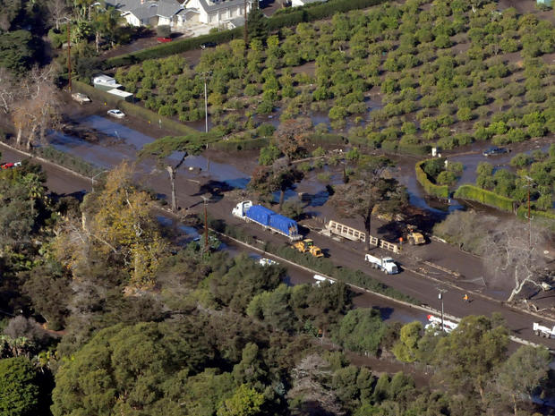 An aerial photo showing Hwy 101 mudslide clean-up due to heavy rains in Montecito, California
