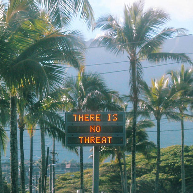 "An electronic sign reads ""There is no threat"" in Oahu, Hawaii, U.S."