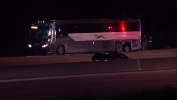 Possibly armed man in custody after Greyhound bus chase