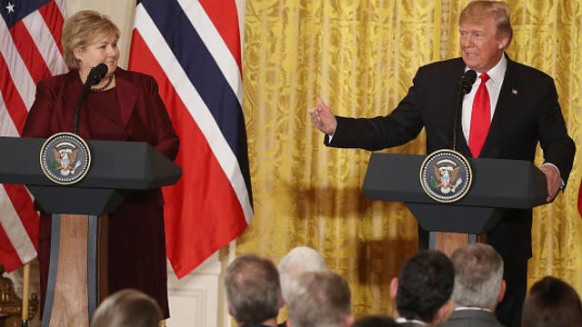 U.S. President Trump and  Norwegian Prime Minister Solberg hold a joint news conference at the White House in Washington
