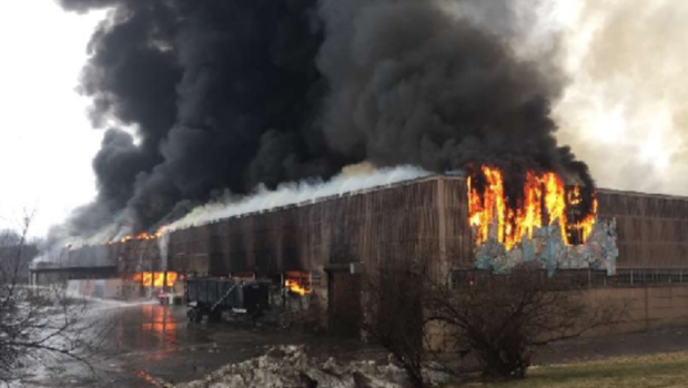 Firefighters battle fire at waste paper company in Willimantic, Connecticut
