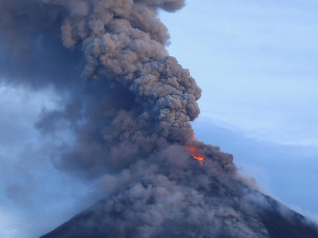 A view of the Mount Mayon volcano as it erupted anew in Daraga, Albay province, south of Manila, Philippines