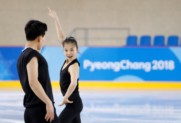 North Korea's figure skaters Ryom Tae Ok and Kim Ju Sik take part in a training session at the Gangneung Ice Arena in Gangneung