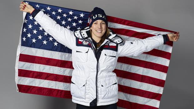 Team USA flagbearer Erin Hamlin poses for a photo on Feb. 8, 2018, in Pyeongchang, South Korea.