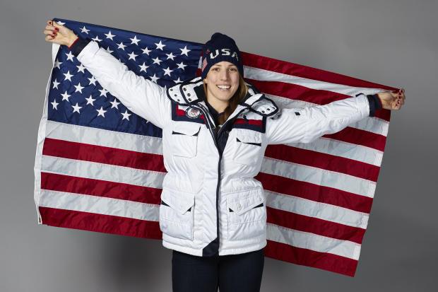 Team USA flagbearer Erin Hamlin poses for a photo on Feb. 8, 2018, in Pyeongchang, South Korea.