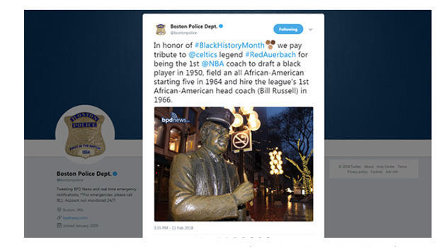 Boston Police Department criticized for Black History Month tweet
