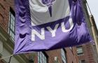 A flag flies from a building at New York