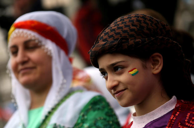 Participants are seen during a rally on the International Women's Day in Diyarbakir