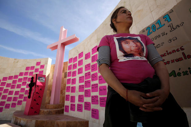 Perla Reyes, whose daughter Jocelyn Calderon was reported missing to police in 2012, takes part in a protest to mark International Women's Day at a memorial for women murder victims in Ciudad Juarez