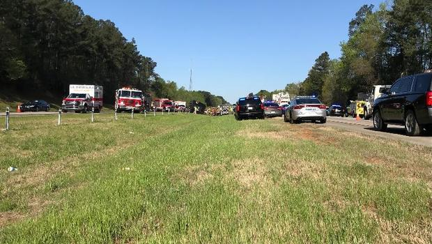 Tour bus headed to the Masters golf tournament flips on Georgia highway
