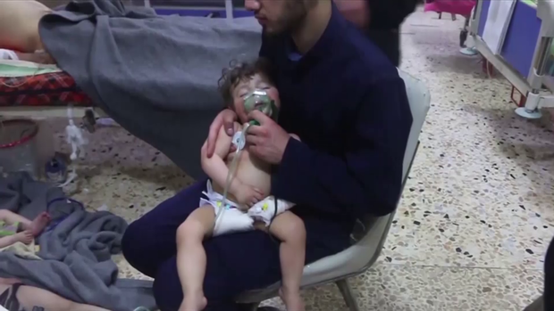 A child affected by an alleged chemical attack in Syria over the weekend.               Syria Civil Defense White Helmets via APTN