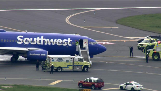 A Southwest Airlines flight is seen after making an emergency landing at Philadelphia International Airport on April 17, 2018.