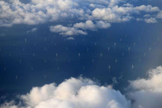 wind turbines - liverpool bay - irish sea - west coast of northern england