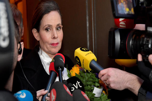 Sara Danius, then the Swedish Academy's permanent secretary, talks to the media as she leaves after a meeting at the Swedish Academy in Stockholm, Sweden, April 12, 2018.