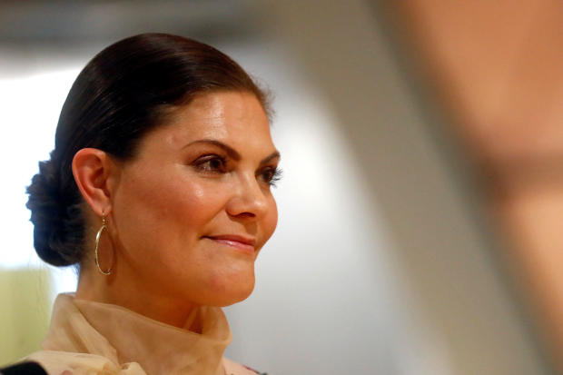 Sweden's Crown Princess Victoria attends a book presentation at the People's Bookshelf at Latvia's National Library in Riga, Latvia, April 27, 2018.