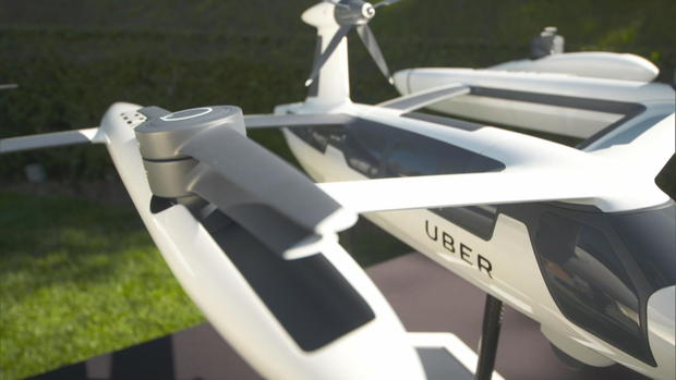 Design models of Uber's flying taxi.                CBS News