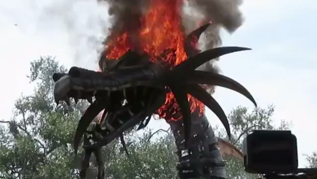 Dragon float in Disney parade catches fire