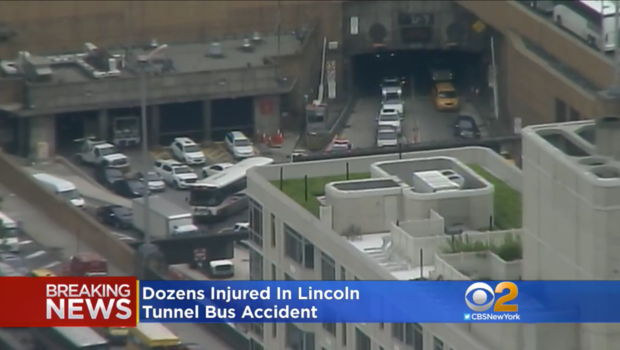 FDNY: 32 people injured when 2 buses collide exiting Lincoln Tunnel