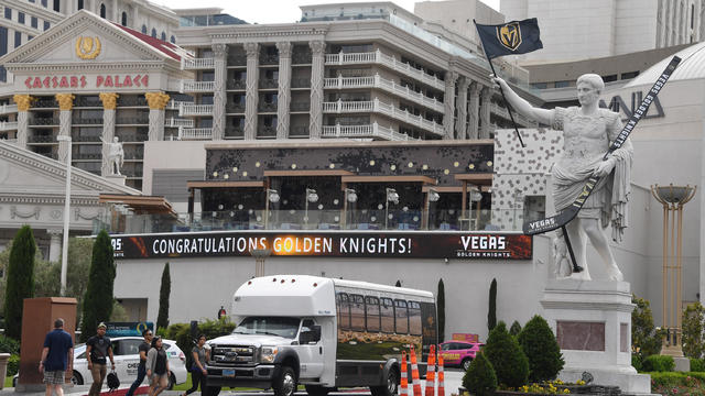 Las Vegas Strip Shows Support For Vegas Golden Knights During Stanley Cup Playoffs Run