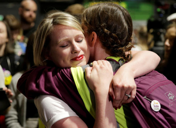 Activists react at the count centre as votes are tallied folowing yesterday's referendum on liberalizing abortion law, in Dublin