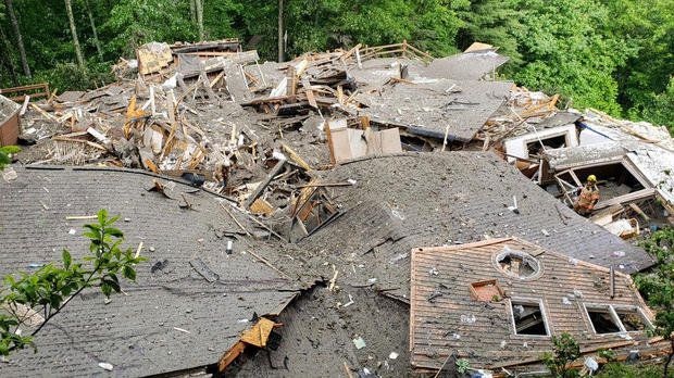 Crews work the scene of a structure collapse in Watauga County, North Carolina, on May 30, 2018, in this photo posted to social media by the Boone Police Department.