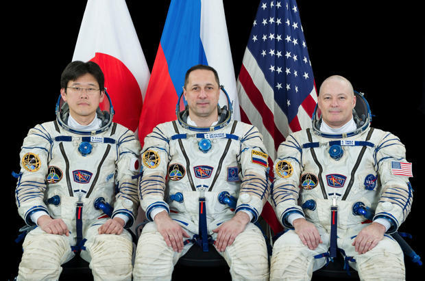 The Soyuz MS-07/53S crew: Norishige Kanai commander Anton Shkaplerov and NASA flight engineer Scott Tingle.               NASA