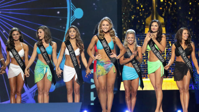 Miss Texas 2017 Margana Wood participates in swimsuit challenge during the 2018 Miss America Competition Show at Boardwalk Hall Arena on Sept. 10, 2017, in Atlantic City, New Jersey.