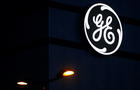 The General Electric logo is pictured on the General Electric offshore wind turbine plant in Montoir-de-Bretagne