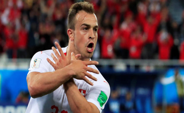 Switzerland's Xherdan Shaqiri celebrates scoring their second goal during the World Cup group E match between Serbia and Switzerland in Kaliningrad Stadium in Kaliningrad, Russia, on June 22, 2018.