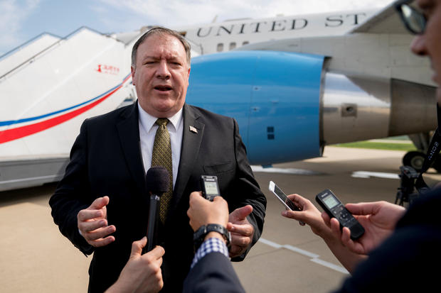 U.S. Secretary of State Mike Pompeo speaks to members of the media at Sunan International Airport in Pyongyang