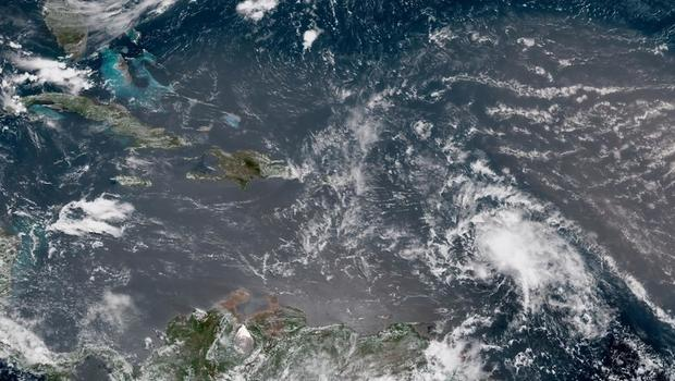 This satellite image shows Tropical Storm Beryl on Sunday