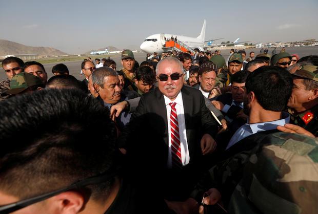 Afghan Vice President Abdul Rashid Dostum arrives at the Hamid Karzai International Airport in Kabul