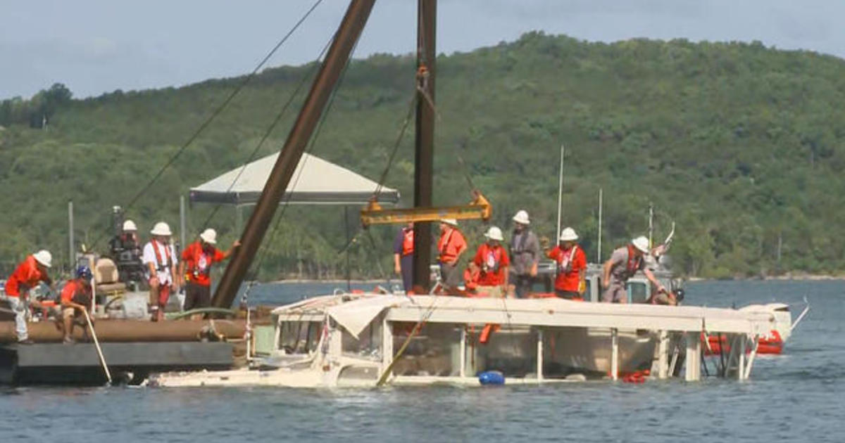 Duck boat raised from Missouri lake days after deadly accident
