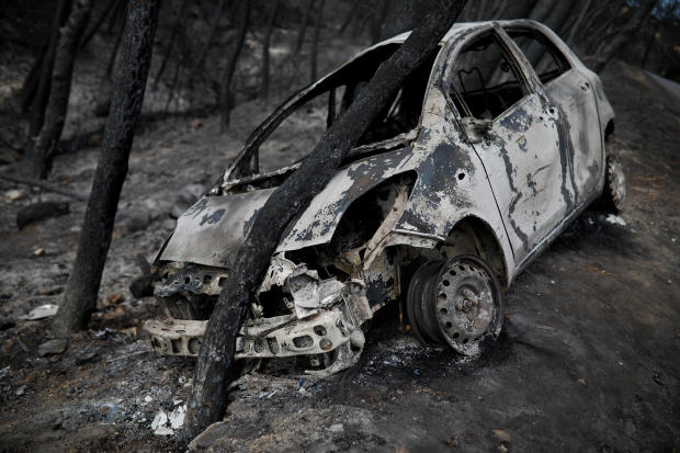A burned car is stuck under a burned tree following a wildfire in Neos Voutzas, near Athens