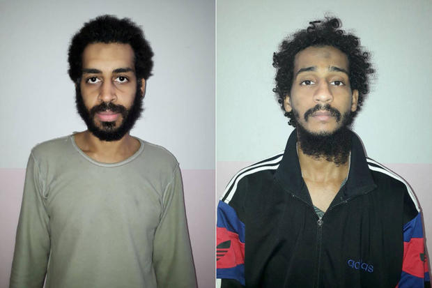 FILE PHOTO: A combination picture shows Alexanda Kotey and Shafee Elsheikh, who the Syrian Democratic Forces (SDF) claim are British nationals, in these undated handout pictures in Amouda