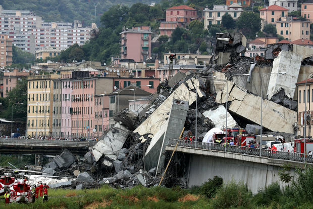 Firefighters Pull Survivors From Genoa Bridge Collapse