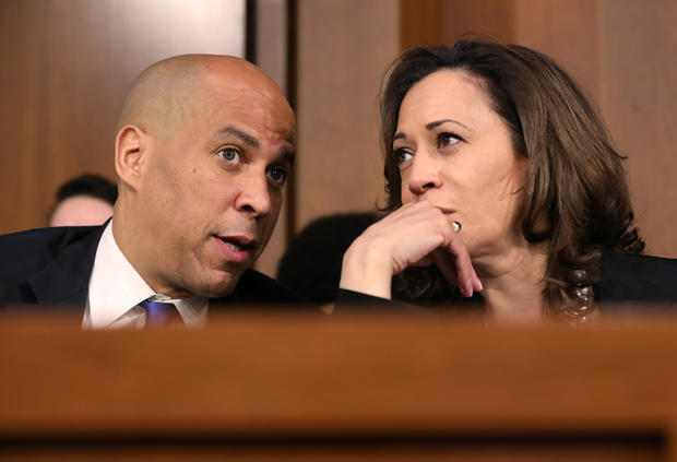 Booker and Harris confer during the confirmation hearing for U.S. Supreme Court nominee judge Brett Kavanaugh on Capitol Hill in Washington?