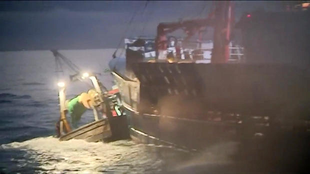 French and British fishing boats collide during a scrap in the English Channel over scallop fishing rights Aug. 28, 2018, in this still image taken from a video.