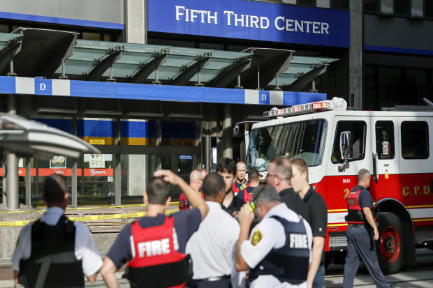Emergency personnel and police respond to reports of an active shooter situation near Fountain Square Sept. 6, 2018, in downtown Cincinnati.