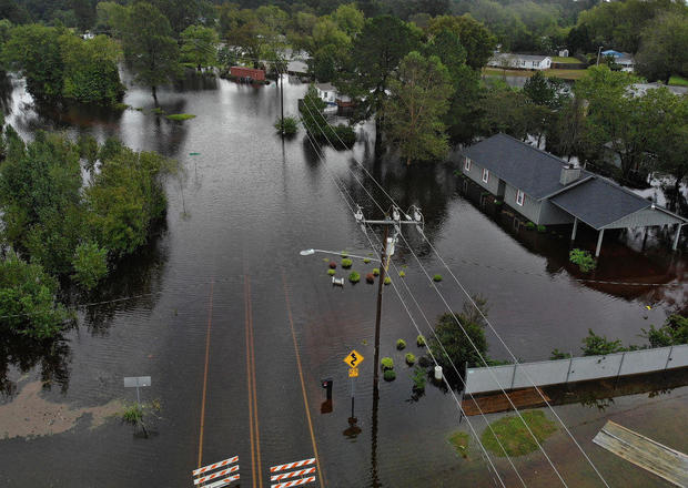 Aerial Footage Shows The Damage Caused By Hurricane Florence in North Carolina