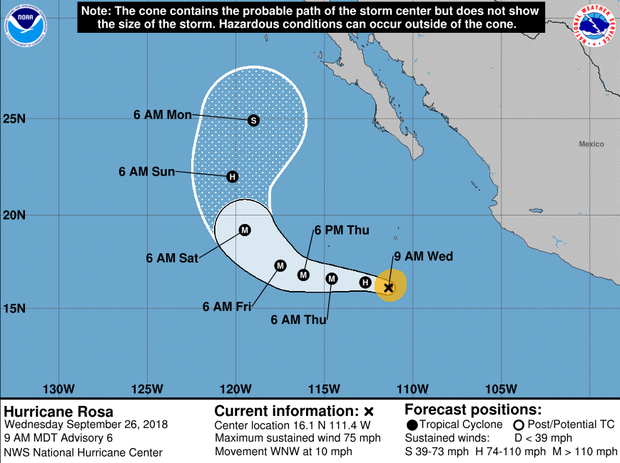 A map made by the National Hurricane Center shows Hurricane Rosa's projected path as of 11 a.m. ET on Sept. 26, 2018.